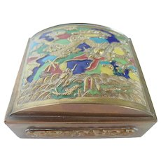 Vintage CHINA Brass and Enamel Domed Casket Lid Dragon Trinket Box Early 1900's
