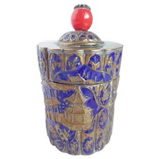 Vintage CHINA Round Trinket Box Brass & Enamel Early 1900's