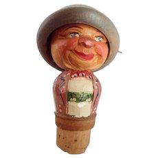 Vintage Anri Hand Carved Hat Flipper Bottle Stopper