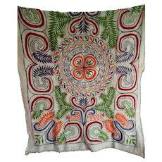 Vintage Hand Embroidered Wool Blanket Coverlet Throw