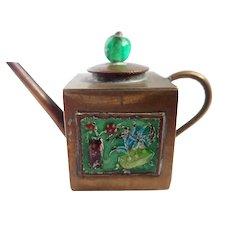 Vintage CHINA Enamel & Brass Miniature Teapot