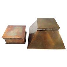 Vintage Bradley & Hubbard Brass Bronze Inkwell & Stamp Box Set