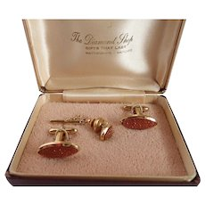 Vintage Cuff Links & Tie Tac Goldstone 14k GF Set With Original Box