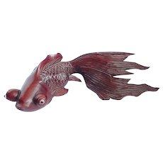 "Vintage Chinese Koi/Goldfish Carved Rosewood 9"" Long"