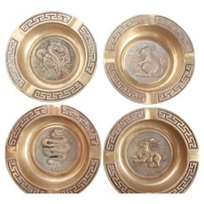 Vintage Chinese Zodiac Set Of 4 Brass Nesting Ashtrays
