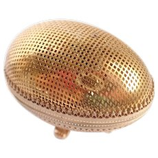 Vintage Evans Egg Shaped Gold Mesh Ornate Table Lighter