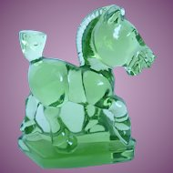 Vintage Imperial Glass Oscar The Plug Horse Fern Green HCA 77