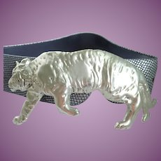Vintage Laloon Tiger Buckle Massive With Belt