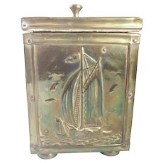 Vintage Brass Repousee Brass Tea Caddy/Canister Sailing Ship