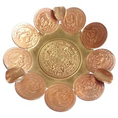 Vintage Mexico Mexican Aztec Calendar Centavos Coin Copper Ashtray