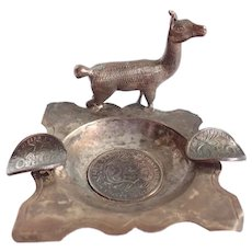 Vintage Hand Hammered Peruvian Silver Ash Tray With 1897, 1908 & 1914 Coins and Llama
