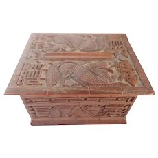 Vintage Hand Carved Wooden Cigarette Dispenser Box with a Chinese Dragon/Serpent
