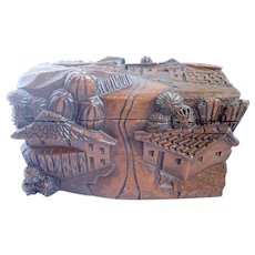 Vintage Carved Wood High Relief Sculpture Box