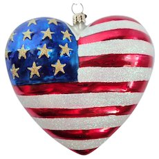 """Retired Christopher Radko """"Brave Heart"""" American Flag 911 Ornament"""