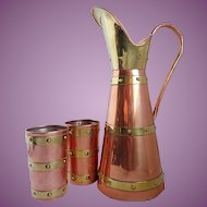 Vintage Taxco Mexican Copper & Brass Pitcher and Cups