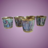 Vintage Taxco Mexican Abalone & Brass Shot Set, Set of 5