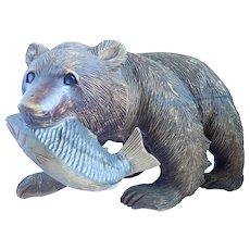 Vintage Hokkaido Japan Large Carved Wooded Bear With Salmon