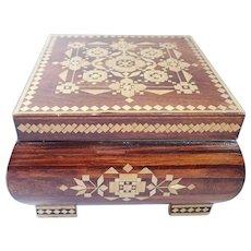 Vintage Russian Folk Art Straw Inlay Hinged Wooden Box