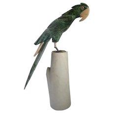 Vintage Carved Parrot Serpentine On Marble Base