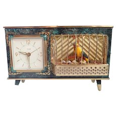 Vintage Ornate West Germany Alarm Working Clock Non Singing Bird