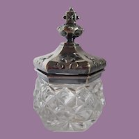 Vintage Inkwell Cut Glass Hobnail With Ornate Silverplated Hinged Lid