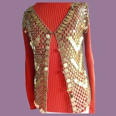 Vintage Paco Rabanne Style Metal Chain Mail Gold Vest