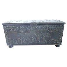 Vintage Bronze Ornate Iron Art Copenhagen Denmark Casket Box