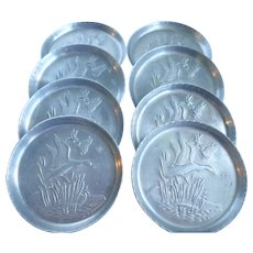 Vintage Aluminum Embossed Ducks In Flight Coasters Set Of Eight