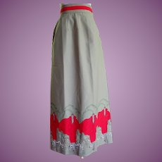 Vintage Maxi Skirt With Art Deco Ladies And Cars A Line Size 6