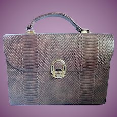 Vintage La Regale Box Purse Metallic Bronze Snake Skin Print Carry Or Crossbody