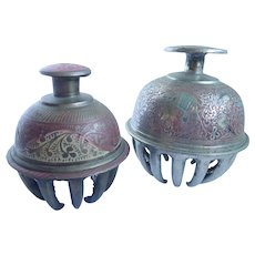 Vintage Pair Of Brass Elephant Temple Claw Bells
