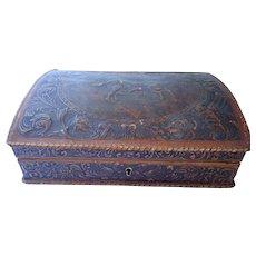 Vintage Embossed Spanish Matador Bullfighter Leather Box With Key