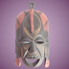Vintage African Jambo Kenya Hand Carved And Painted Mask