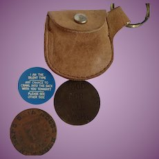 Novelty Brothel/Cat House (3) Token Coins and Pouch