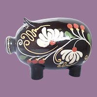 Vintage Mexican Pottery Piggy Bank Hand Painted Signed
