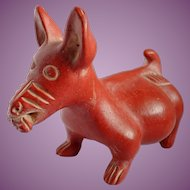 Vintage Mexican Colima Red Clay Dog With Corn