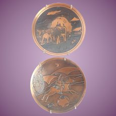 """Vintage (2) Copper Plates """"Chile"""" 5 3/4"""" Folk Art Ready To Hang"""