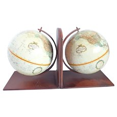 Vintage Replogle World Globe Bookends - Heavy