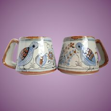 Vintage Ken Edwards Mexican Pottery Pair Large Coffee Mugs