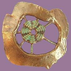 Vintage Brass & Enamel Buckle Substantial Brutalist Abstract Design