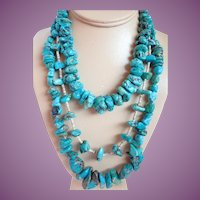 Vintage (3) Turquoise Nugget Necklaces For Layering