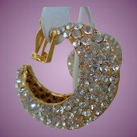 Vintage Kenneth Jay Lane Statement Clip On Crystal Earrings
