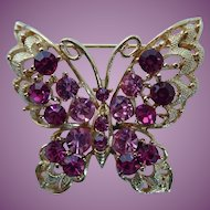 Vintage Signed LISNER Butterfly Cabochon Rhinestone Brooch Pin