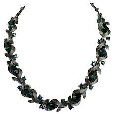 Vintage Lisner Gold Tone & Green Rhinestone Necklace