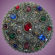 Vintage New England Glass Work Ornate Filigree Brooch/Pin
