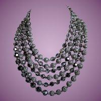 Vintage Marvella Six Strand Crystal & Filigree Necklace