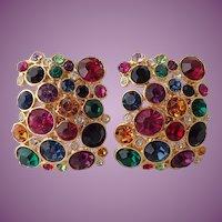 Vintage Blanca Large and Colorful Rhinestone Earrings