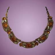 Vintage Barclay Amber and Yellow Colors Rhinestone Necklace