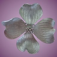 Vintage Marvella Dogwood Flower Silver Tone Brooch/Pin