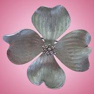Vintage Marvella Dogwood Flower Silver Tone Brooch/Pin